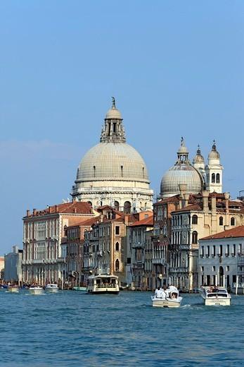 Dome, church Santa Maria della Salute, Grand canal, Venice, Veneto, Italy : Stock Photo