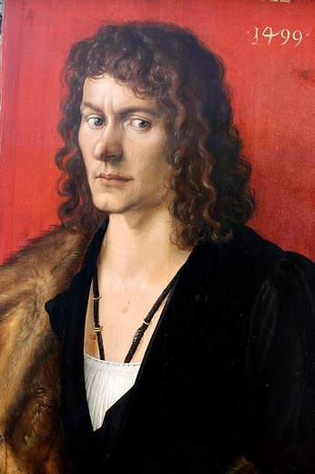 Albrecht Durer, Portrait, Oswolt Krel, 1499, Painting, Alte Pinakothek, Munich, Bavaria, Germany : Stock Photo