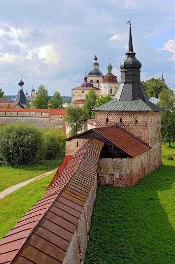 Towers, Kirillo_Belozersky Monastery, Kirillov, Vologda region, Russia : Stock Photo