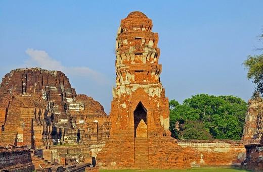 Tempel Wat Mahathat, Tempelanlage des Unesco Weltkulturerbe, Ayutthaya, Thailand, Asien : Stock Photo