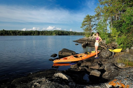 Kayaking in the Lakes at Ash River Area, Voyageur National Park, Minnesota, USA : Stock Photo