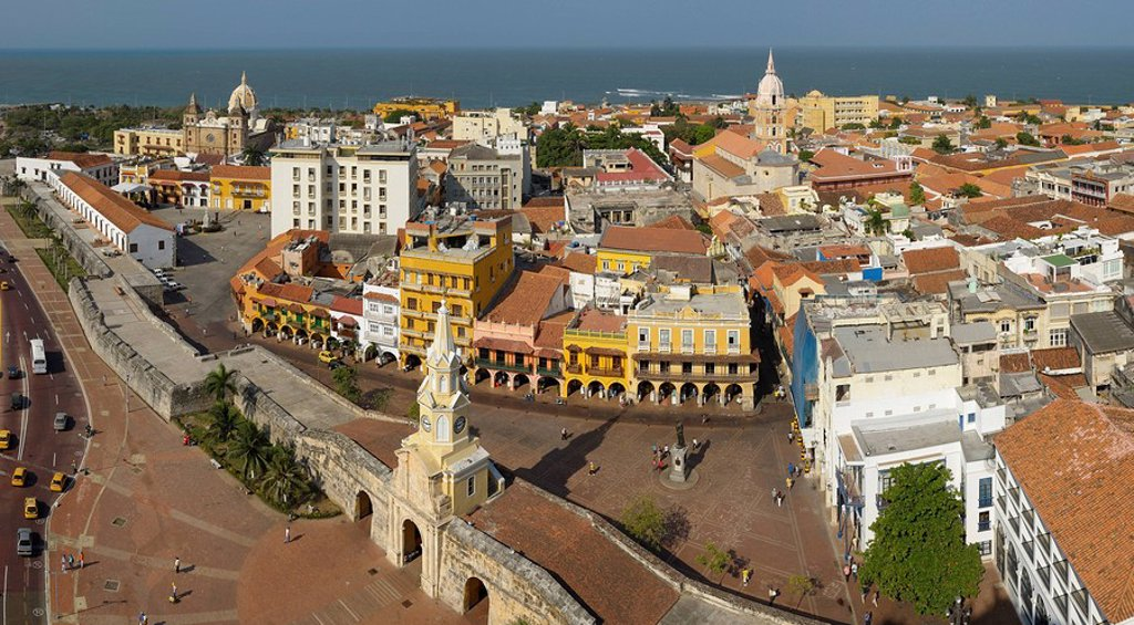 Stock Photo: 1597-87607 view, Old Town, Puerta del Reloj, Colonial Quarter, Cartagena, Department Bolivar, Colombia, South America