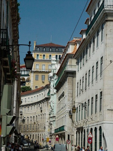 Stock Photo: 1597-8797  Baixa, houses, homes, lanterns, Lisbon, Portugal, town, city, street, traffic,