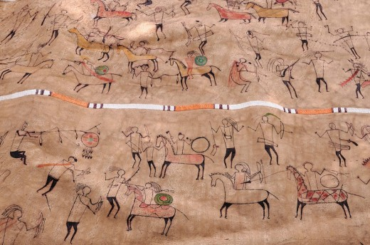 Buffalo Robe of Larry Belitz, Indian craftsman, artifact, Hot Springs, South Dakota, USA : Stock Photo