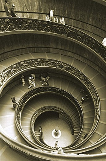 architecture, visitor, inside, Rome, black and white, spiral, stair, Vatican, Vatican broad museums, museum, from Gi : Stock Photo