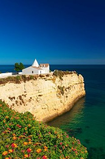 Stock Photo: 1597-89020 Algarve, Portugal, outside, Nossa Senhora there Rocha, church, architecture, architecture, building, building, construction, religion, Christianity, christian, faith, believe, religiously, Nossa Senhora there Rocha, cliff, sea