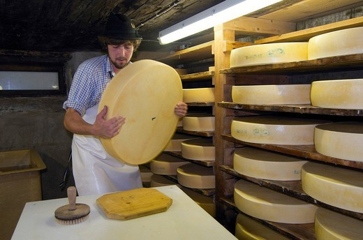Allgaeu, Allgäu, Bavaria, Germany, Savoir Vivre, Alpine dairyman, Schlappoltalm, Fellhorn, Oberstdorf, cheese production, cheese, no model release, : Stock Photo