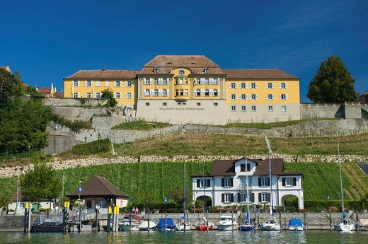 Baden_Wurttemberg, Lake of Constance, Germany, Meersburg, Baden_Wurttemberg, harbour, port, houses, homes, lake, wine cultivation : Stock Photo