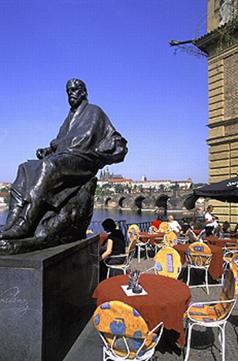 Stock Photo: 1597-8980  Bedrich Smetana, cafe, river, flow, Charles bridge, culture, art, skill, Moldavia, museum Bedricha Smetany, Prague,