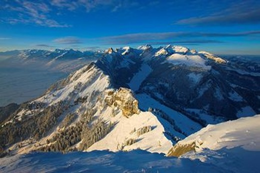 View, Hoher Kasten, Switzerland, canton Appenzell, Innerrhoden, Alpstein, mountains, snow, winter, morning light : Stock Photo