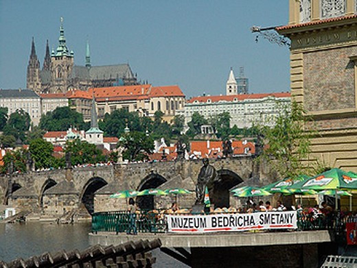 Stock Photo: 1597-9032  Bedrich Smetana, Hradcany, Charles bridge, people, Moldavia, museum, Prague, Prague castle, terrace, Czechia, Europe