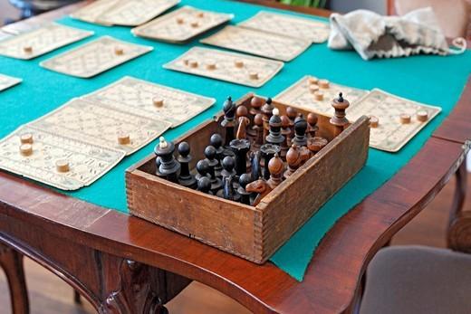 Stock Photo: 1597-90974 Lotto game, 1880s, museum, estate house Gorka Galskikh, Cherepovets, Vologda region, Russia