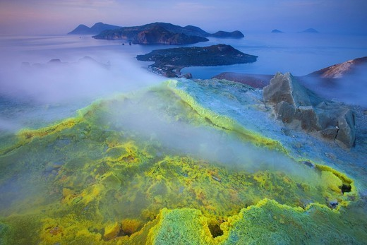Stock Photo: 1597-90990 Vulcano, Italy, Europe, Lipari Islands, island, isle, volcano, crater, fumarole, sulphur, sulfur, deposition, steam, vapor, evening mood, sea, Mediterranean Sea