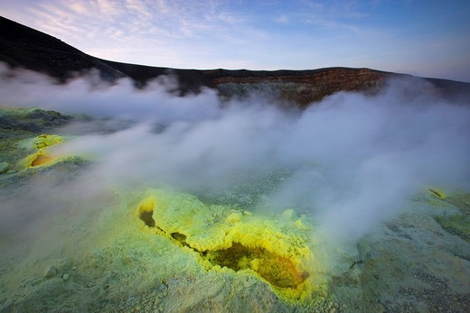 Vulcano, Italy, Europe, Lipari Islands, island, isle, volcano, crater, fumarole, sulphur, sulfur, deposition, steam, vapor, morning light : Stock Photo