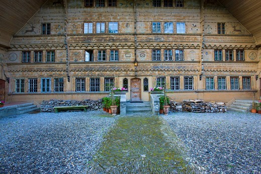 Stock Photo: 1597-92113 Rossinière_Grand chalet, Switzerland, Europe, canton Freiburg, Fribourg, village, house, home, entrance, Pflästerung, window, decorated facade, carvings