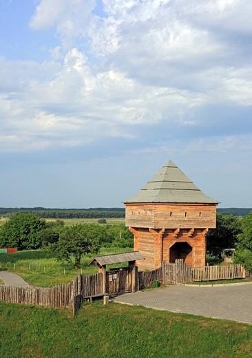 Historical reconstruction of Ukrainian hetmans residence, Subbotov, Cherkasy Oblast, Ukraine : Stock Photo
