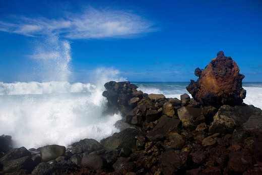Stock Photo: 1597-92496 Playa del Ingles, Spain, Europe, Canary islands, isles, La Gomera, island, isle, rock, cliff, surf, storm, waves, foam, sea, Atlantic