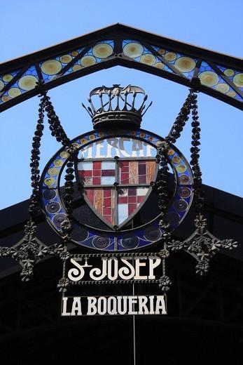 Spain, Europe, Catalonia, Barcelona, Rambla, market, sign, shield, Saint Josep, La Bouqueria, coat of arms : Stock Photo