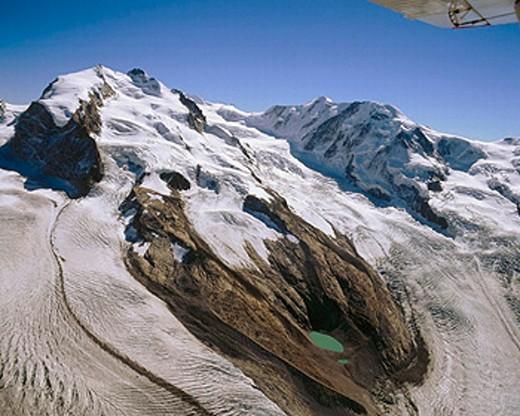 Stock Photo: 1597-9509  alpine, Alps, mountains, Dufourspitze, glacier, canton Valais, scenery, Monte Rosa, Switzerland, Europe,