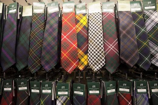 Stock Photo: 1597-95438 Scotland, Edinburgh, Tie Display in the Tartan Weaving Mill