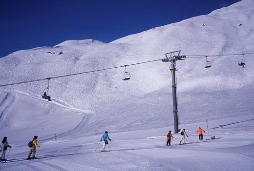 Switzerland, Europe, scenery, Alps, ski lift, skiing, Valais, mountain, mountains, winters, snow, sport : Stock Photo