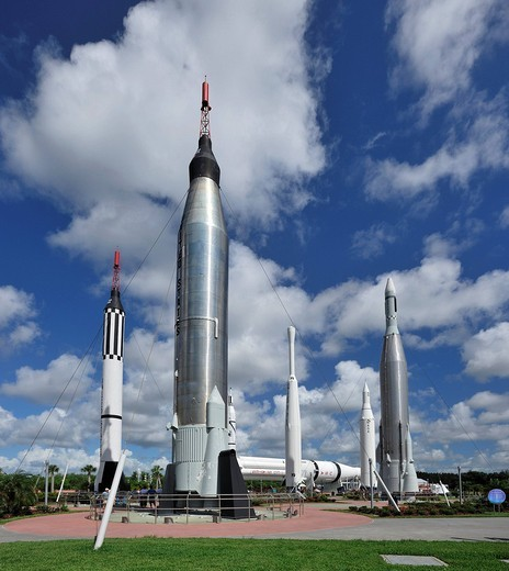 Rocket Garden, Kennedy Space Center, near Titusville, Florida, USA, United States, America, rockets, space travel, museum : Stock Photo