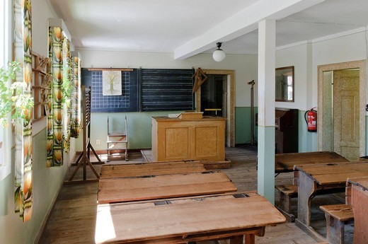 Stock Photo: 1597-96452 old, architecture, inside, inside view, indoor photograph, farmhouse, building, FRG, federal republic, German, Germany, European, Europe, open air, museum, open_air museum, building, construction, history, story, historical, house, home, historical, court