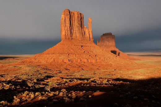 Stock Photo: 1597-96858 Monument Valley, Navajo Indian Reservation, Arizona, USA, United States, America, rocks, landscape