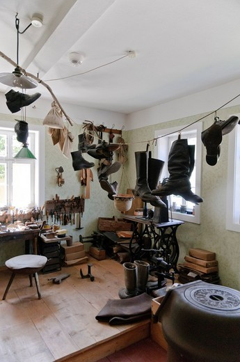 Stock Photo: 1597-97043 old, architecture, inside, inside view, indoor photograph, farmhouse, building, FRG, federal republic, German, Germany, European, Europe, open air, museum, open_air museum, building, construction, history, story, historical, house, home, historical, court