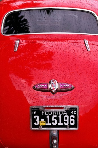 Stock Photo: 1597-97396 Classic Cars, detail, historical, Buick, red, Florida, USA, United States, America,
