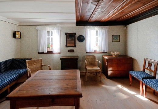 Stock Photo: 1597-97517 old, architecture, inside, inside view, indoor photograph, farmhouse, building, FRG, federal republic, German, Germany, European, Europe, open air, museum, open_air museum, building, construction, history, story, historical, house, home, historical, court