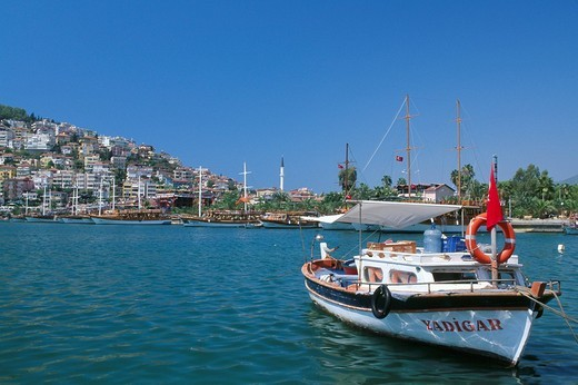 Stock Photo: 1597-97845 Turkey, Alanya harbor, harbor, Boat, ship, Turkish Riviera, Riviera, houses, water, sea, Mediterranean Sea, travel
