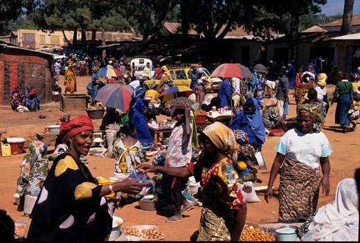 Guinea, Dalaba, market, Highland, Fouta Djalon, West Africa, local people, women : Stock Photo