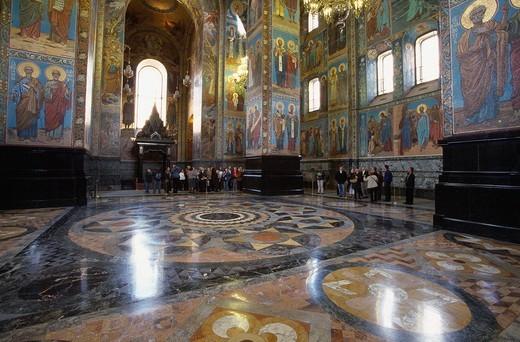 Russia, Saint Petersburg, Church of the Resurrection of Jesus Christ, inside, Alexander II, architecture, Indoor, Euro : Stock Photo