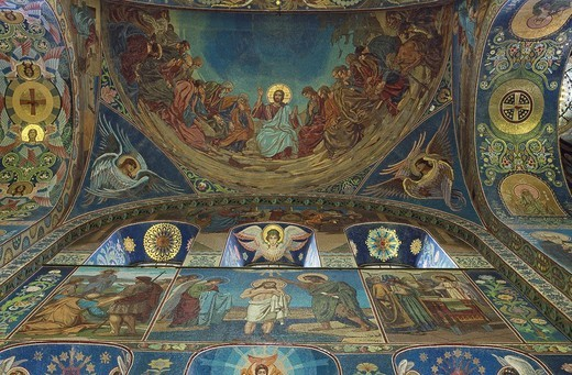 Stock Photo: 1597-98463 Russia, Saint Petersburg, Church of the Resurrection of Jesus Christ, inside, Alexander II, architecture, Indoor, ceil