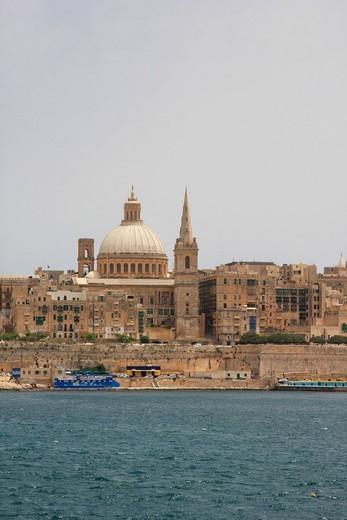 Stock Photo: 1597-98872 Malta, Valletta, Valetta, Travel, Marsamxett harbor, marina, St Paul Cathedral, Carmelite Church,