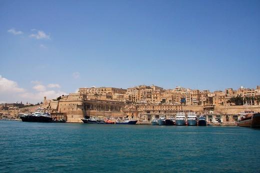 Malta, Valletta, Valetta, Travel, Grand harbor, marina, boats, ships, rampart, city wall : Stock Photo