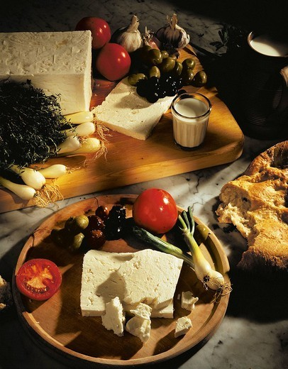 Stock Photo: 1597-99665  Cheese, Olives, Onion, Tomatoes, Vegetab