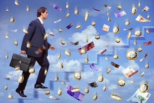 Bank Notes, Briefcases, Economy, Heaven, : Stock Photo