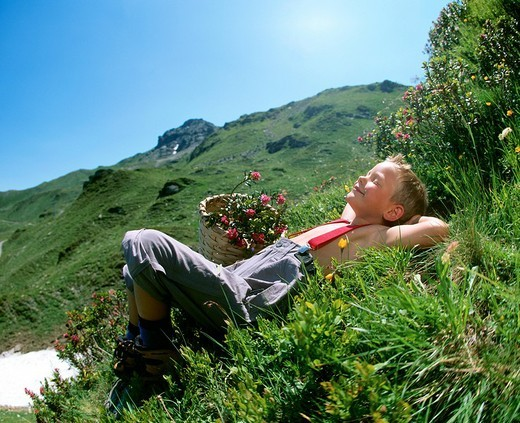 Stock Photo: 1597-99786  boy, Hiking, Meadow, Mountains, Summer,