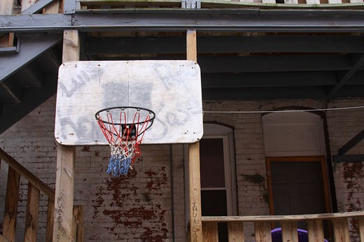 Basketball hoop in Holyoke Massachusetts : Stock Photo