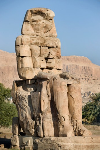 Stock Photo: 1598R-10000262 A statue guards the road to the valley's of the Kings and Queens, Luxor, Egypt