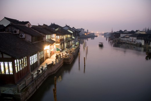Stock Photo: 1598R-10000440 Zhujiajiao water town canal at dusk