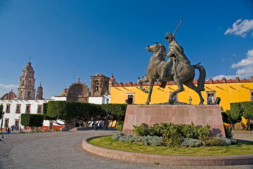 Church of Our Lady of Health, La SaludStatue of Ignacio Allende Founder of Town : Stock Photo