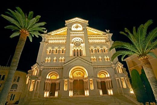 Monaco Cathedral at night : Stock Photo