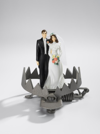 Bride and Groom in a dangerous trap : Stock Photo
