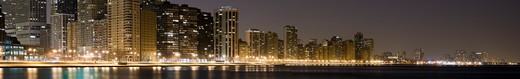 Panoramic view of the Chicago lakefront at night, looking north from downtown. : Stock Photo