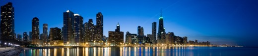 Stock Photo: 1598R-10002551 Panoramic view of the northern end of the downtown Chicago lakefront at dusk.