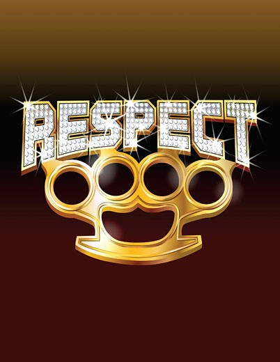 Stock Photo: 1598R-10002719 Brass knuckles and 'respect'