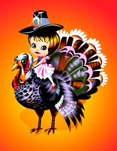 Girl in pilgrim hat sitting atop turkey : Stock Photo